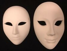 Unfinished Blank Plain White Ceramic Mask Set of 2 Mardi Gras Carnival Unglazed