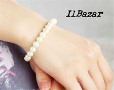 Braccialetto bracciale donna ragazza Perle Perline Bianco elastico 8 mm Regalo