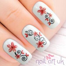 Red Abstract Flower Water Decal Nail Stickers Tattoo Art 01.03.015