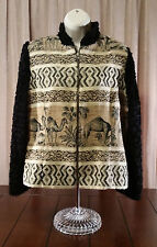 Women's Jacket Cactus Flower Animal Design Fuzzy Sleeve Camel Black Tan