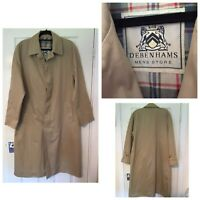 "Debenhams Mens Long Trench Coat Beige Size Pit To Pit 22,5"" (A3)"