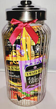 Vintage Style Large Ribbed Glass Jar with 60 Twinings Teabags Free Delivery