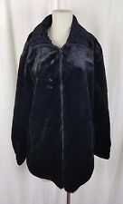 Alpine Studio Reversible Vegan Black Faux Fur Leather Car Coat Jacket Womens L