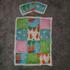 Handmade Dolls cot / pram quilted cotton quilt and pillow  Kevin Carrot