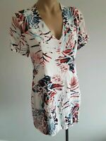 sz 10 or S small WISH mini dress, white red blue floral. Lined. Short sleeves