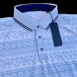Greyson Golf Ghostwolf Short Sleeve Performance Print Polo Shirt XL $110