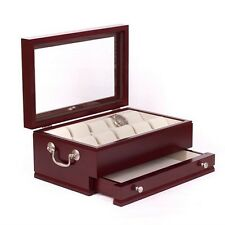 American Chest The CAPTAIN Ten Watch Glass Top Storage Box Case Mahogany New