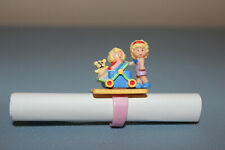 Rare 1990 Polly Pocket Pushes the Stroller Baby Carriage Ring Complete Bluebird