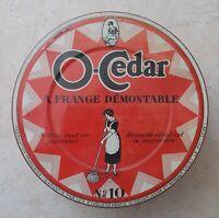 Ancienne boite métal tôle O Cedar Le balai N 10 vintage vtg vide ancien