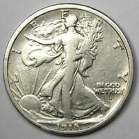 1916-D Walking Liberty Half Dollar 50C Coin - VF Details - Rare Date!