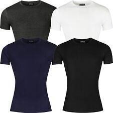 New Mens Slim Fit T Shirt Muscle Top Short Sleeve Plain Cotton Crew Neck Summer