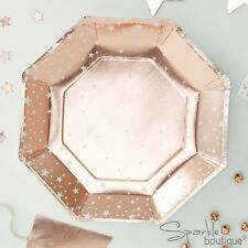 ROSE GOLD METALLIC STAR Luxury Christmas Paper PLATES -Xmas Party- RANGE IN SHOP