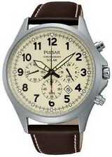 Relojes de pulsera solar de acero inoxidable de cuero