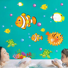 Fish Bubbling Turtle under the Sea Removable Wall Sticker Kids Bathroom Nursery