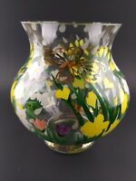 Lenox Glass Vase Hand Painted & Signed Daffodils Gold Butterfly April Showers