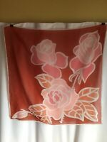 Vintage 60s Vera Neumann Pink & Red Roses Floral Silk Scarf 26""