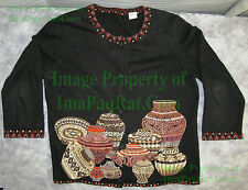 SAMPLE! Michael Simon Beaded Cardigan Sweater Small Native Baskets Shoulder Pads