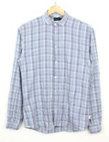 Paul Smith Mens Slim Fit Blue Grey Long Sleeve Checkered 100% Cotton Shirt - S