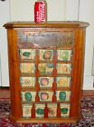 Antique L L  May country store seed display case cabinet with product 15639
