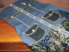 Baby Phat GIrls Denim Dress Black Velvet Pockets & Gold Embellishments Large