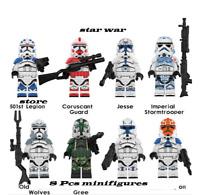 8Pcs Minifigures Star war 501st Legoin Jesse StormTrooper Captain Rex Custom MOC