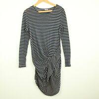 By Malene Birger Navy Blue Tan Striped Cotton Jersey Knit Dress Small S