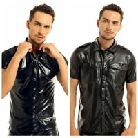 Soft Men's Faux Leather Police Uniform Shirt Short Sleeve Top Shirt Clubwear