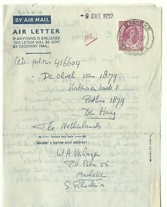 RHODESIA & Nyassaland: Aerogramme 6d.QEII /with wmk/from Macheke 1957 to Holland