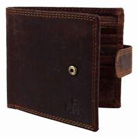 Mens Oiled Hunter Cognac Leather Tab Bi Fold RFID Wallet Rowallan of Scotland