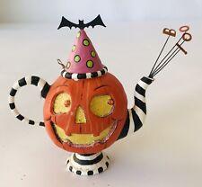 """Dept 56 Glitterville Pumpkin Teapot Halloween Ornament Bat & Boo! 3"""""""