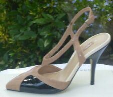 NEXT nude/black patent faux leather slingback court shoes NWOB Size