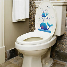 Lovely Blue Whale Bathroom Toilet Decal Funny Vinyl Sticker Wall Art YXH18