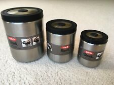 New listing Oxo Stainless Steel 3 Peice Small Press Top Canister Set Brand New Guaranteed!
