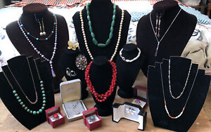 Job Lot vintage Some 925 sterling silver & costume jewellery Glass Faux Pearls