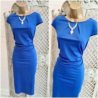 ZANZEA UK M New Royal Blue Stretch Ruched Wiggle Smart Midi Pencil Dress