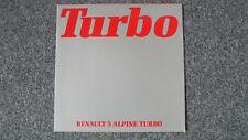 Brochure Catalogue RENAULT 5 R5 ALPINE TURBO 1982 en Français Prospekt Dépliant