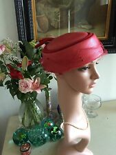Vintage 50s Pillbox Hat Red Silk Veil & Pin Rare Sisal Straw Couture Starlet A1
