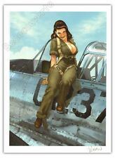 Affiche Romain Hugault Pin-up Avion La pilote sexy Signée 30x40 cm