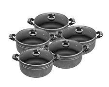 5pc Die Cast Non Stick Deep Casserole Pot Cookware Glass Lid Set Black
