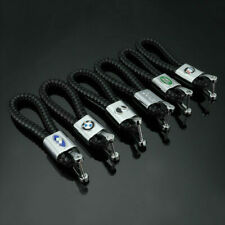 Car Logo Key Chains Metal Ring PU Leather Weave Straps Keyring for BMW Honda VW