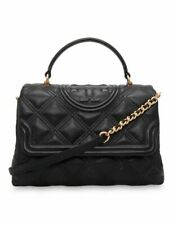 Tory Burch Fleming Soft Leather Top Handle Quilted Satchel Purse Bag - Black