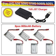 6 pièces 3.7V 800mAh Batterie Lipo+6in1 Chargeur Pour JXD 509 509G 510G RC QC A2