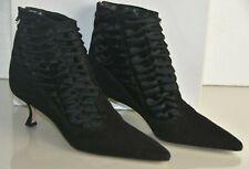 $1845 NEW Manolo Blahnik DRUE Ankle Boots Suede Black Kitten Heels Pony Shoes 41