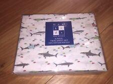Max Studio Sharks w/ Tshirts Twin Sheet Set - White/Blue/Red/Green - 100% Cotton