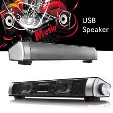 Subwoofer USB Speaker Audio Sound Bar 3.5mm Earphone Mic Port For PC Computer TV