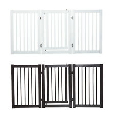 155cm Expandable 3-Panel Freestanding Dog Pet Gate w/ Latched Door Secure