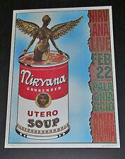 Rare 2/22/1994 Nirvana Utero Soup Rome Poster S/N 225/1000 Alesandro Locchi