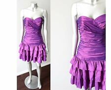 Betsey Johnson Retro Taffeta Tiered Metallic Purple Punk Party VTG Dress Sz S+M