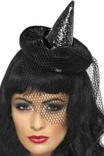 Ladies Sexy Glittery Black Green Mini Witches Halloween Fancy Dress Costume Hat
