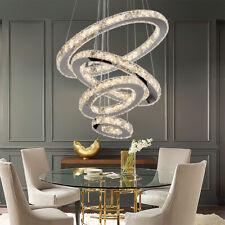 Modern LED Adjustable Chandeliers Crystal Pendant Lamp Round Ceiling Light Ring